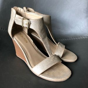 Gold Kenneth Cole Reaction wedge heel sandals